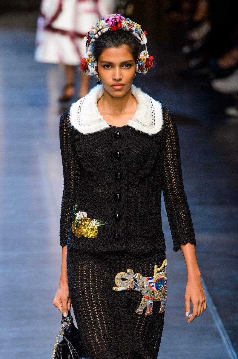 Pooja Mor on the runway at Dolce & Gabbana. Photo: Imaxtree