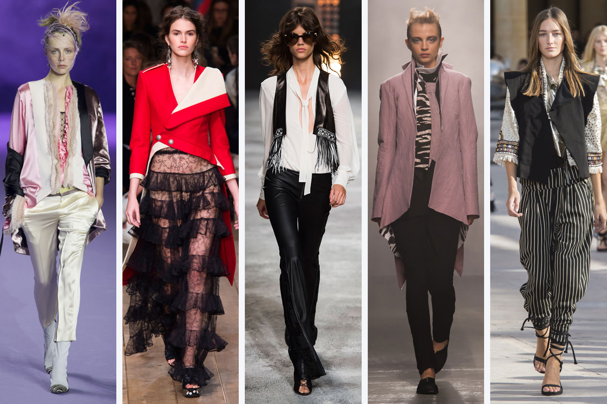 From left to right: Haider Ackermann, Alexander McQueen, Redemption, Aganovich, and Isabel Marant