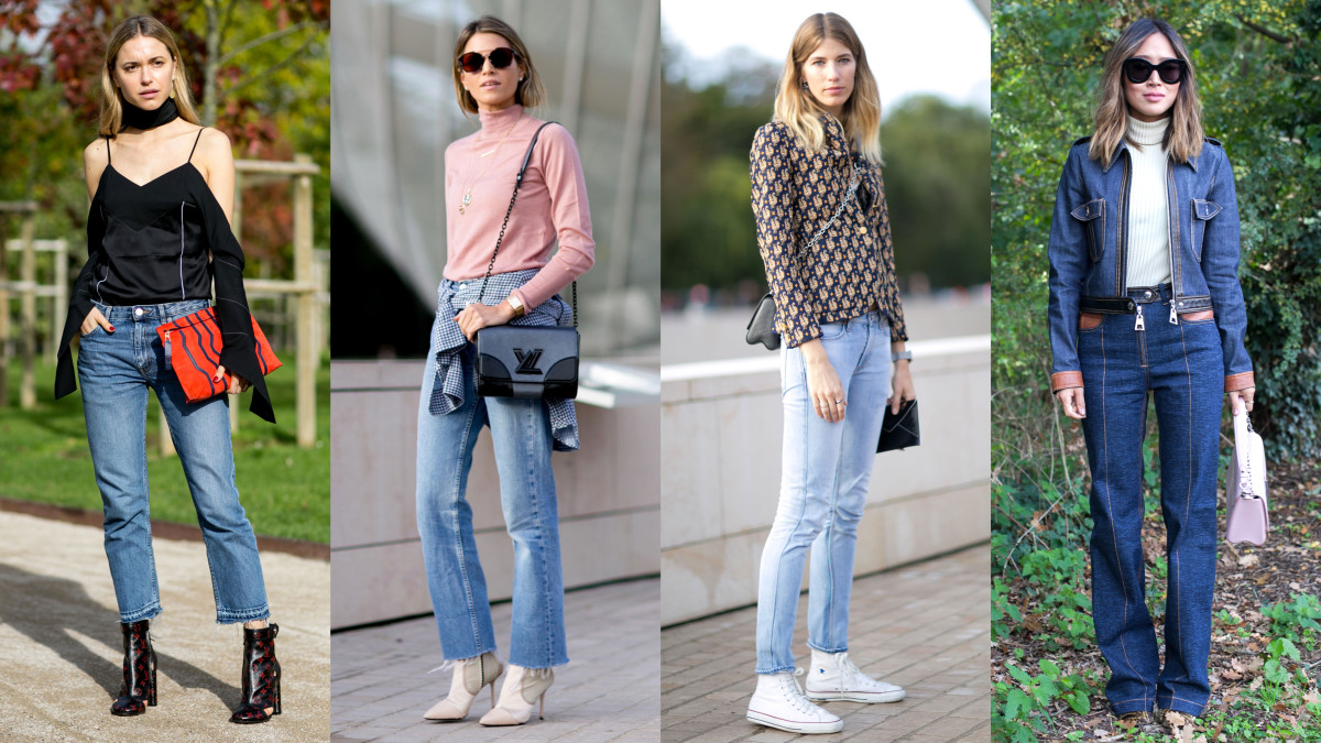 A denim-filled day in Paris. Photos: Imaxtree and Emily Malan/Fashionista