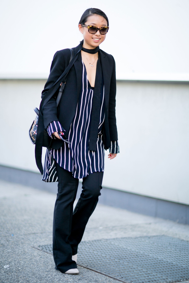 Blogger Margaret Zhang at New York Fashion Week in a Daniel Avakian neck scarf and The Only Son blazer. Photo: Imaxtree