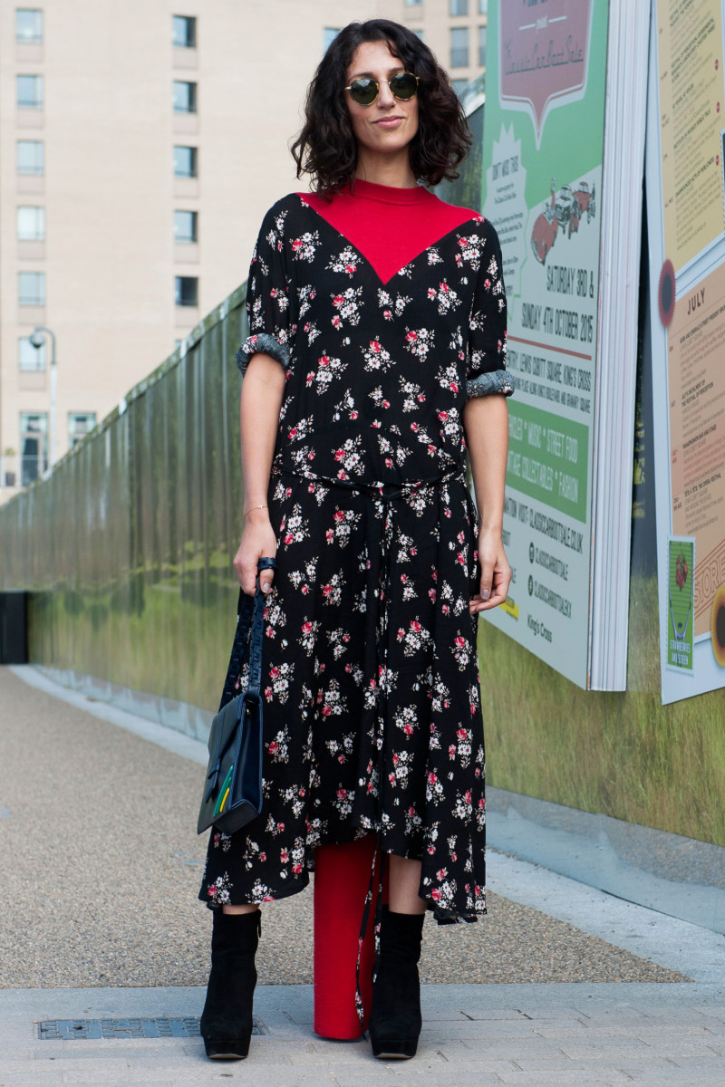 Fashion consultant Yasmin Sewell at London Fashion Week in a Vetements dress. Photo: Imaxtree