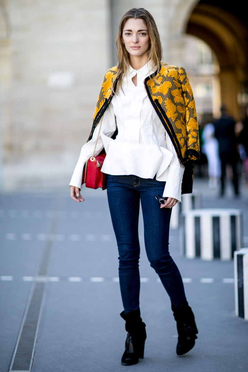 Art Director Sofia Sanchez de Betak in Lanvin jacket and bag, Undercover shirt and Frame jeans. Photo: Imaxtree