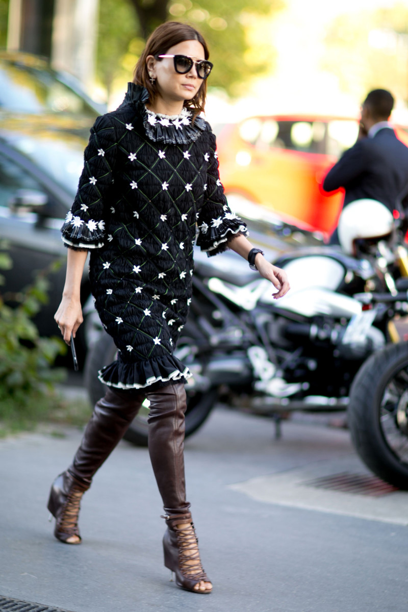 Vogue Australia Fashion Director Christine Centenera at Paris Fashion Week in Chanel. Photo: Imaxtree