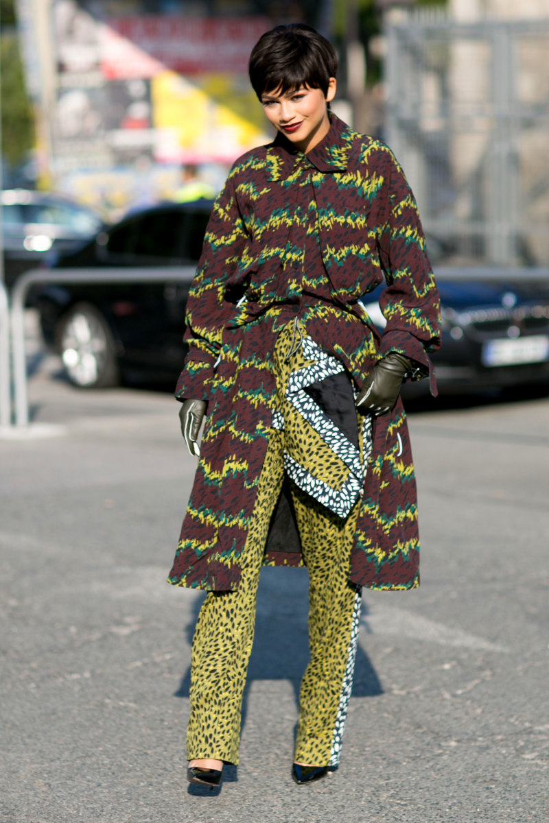 Actress/singer Zendaya at Paris Fashion Week in Kenzo. Photo: Imaxtree
