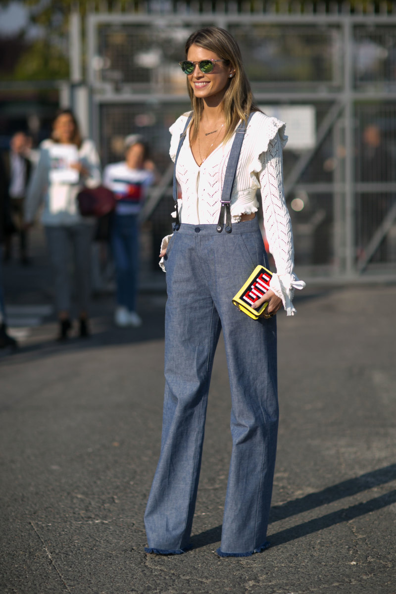 Blogger Helena Bordon at Paris Fashion Week in Philosophy di Lorenzo Serafini pants and top with Les Petits Joueurs bag. Photo: Imaxtree