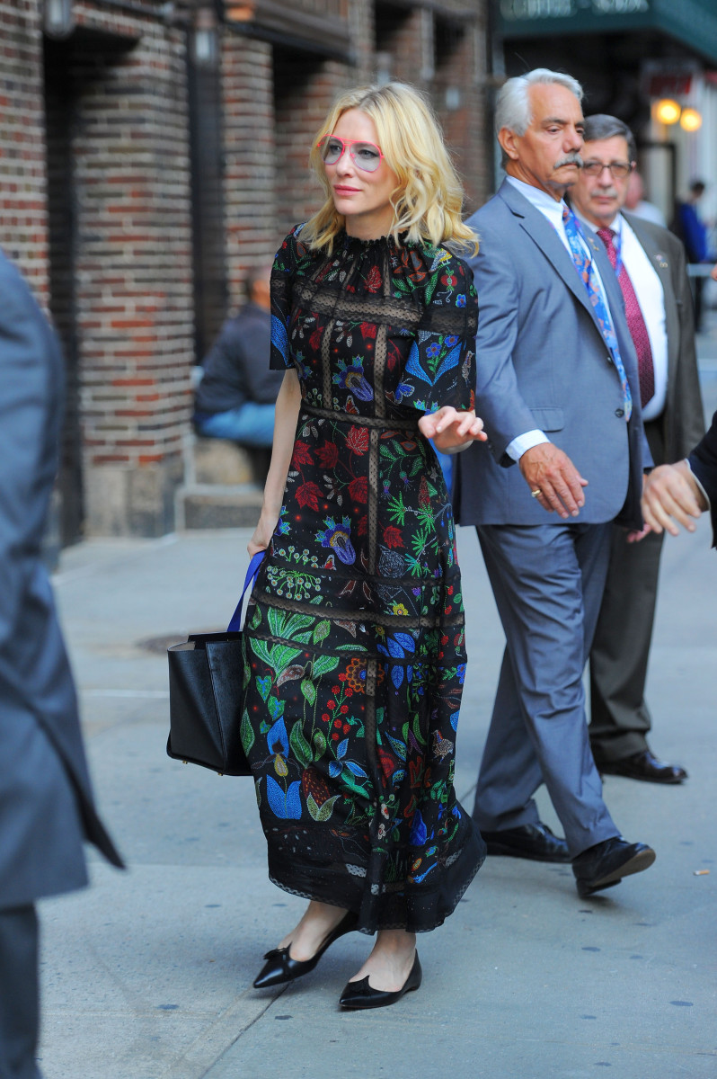 Cate Blanchett in Valentino in New York City. Photo: Josiah Kamau/BuzzFoto via Getty Images
