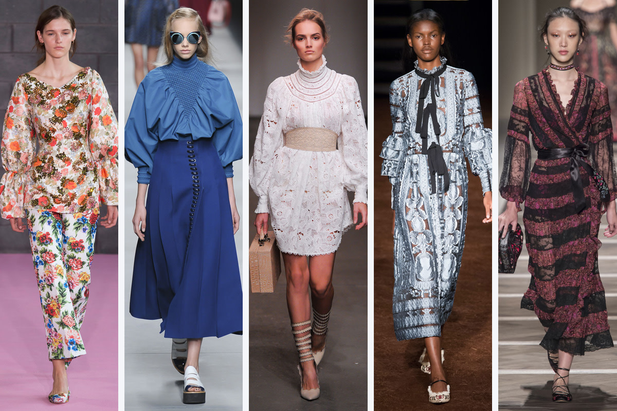 From left to right: Emilia Wickstead, Fendi, Zimmermann, Erdem, and Etro
