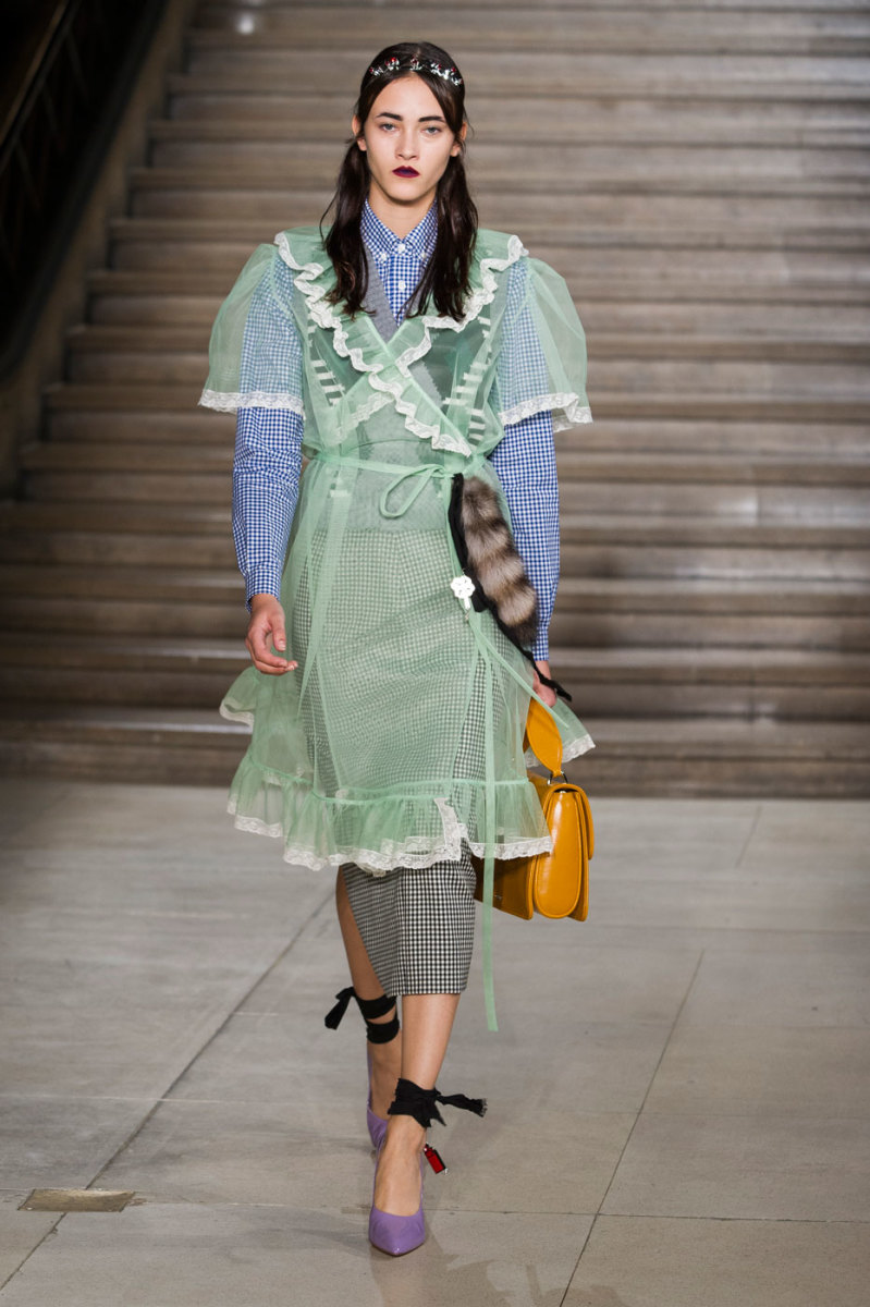 Greta Varlese on the runway at Miu Miu. Photo: Imaxtree
