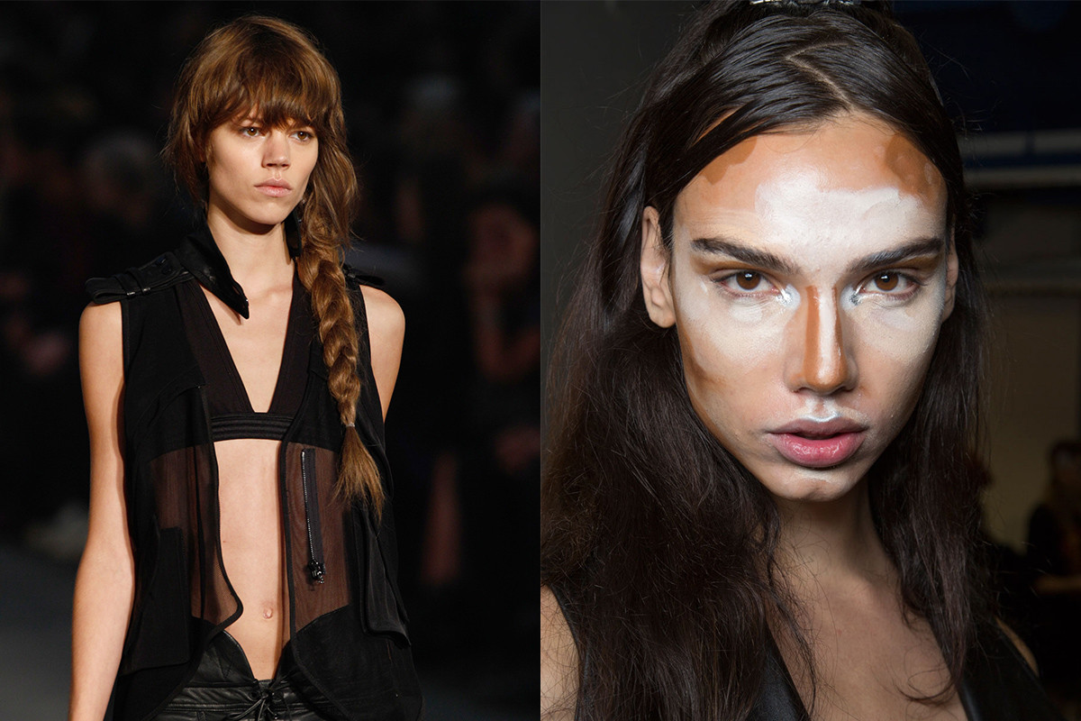 Guido's braid at Alexander Wang in 2009 and extreme contouring at Hood by Air for Spring 2016. Photos: Thomas Concordia/Getty Images and Imaxtree