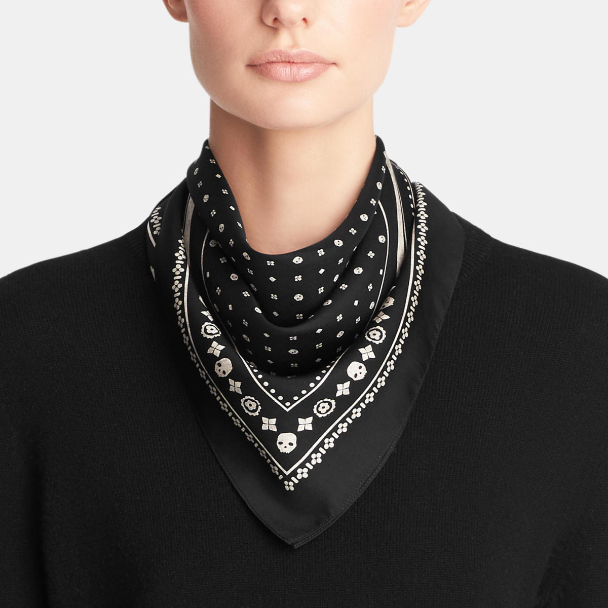 Skulls Silk Foulard Square Scarf, $195, available at Coach