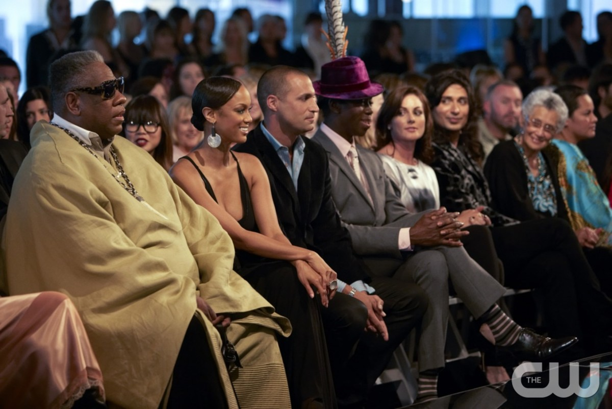 "Andrew Leon Talley, Tyra Banks, Nigel Barker and J. Alexander watch an Anna Sui runway show featuring contestants on the final episode of ""America's Next Top Model"" cycle 14. Photo: Martina Monica Tolot/The CW"