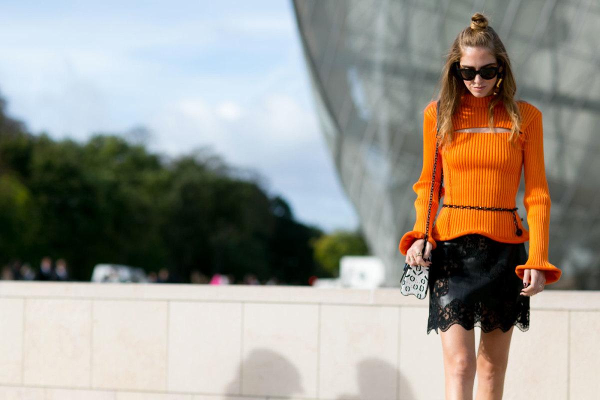 Chiara Ferragni outside the Louis Vuitton spring 2016 show during Paris Fashion Week. Photo: Imaxtree