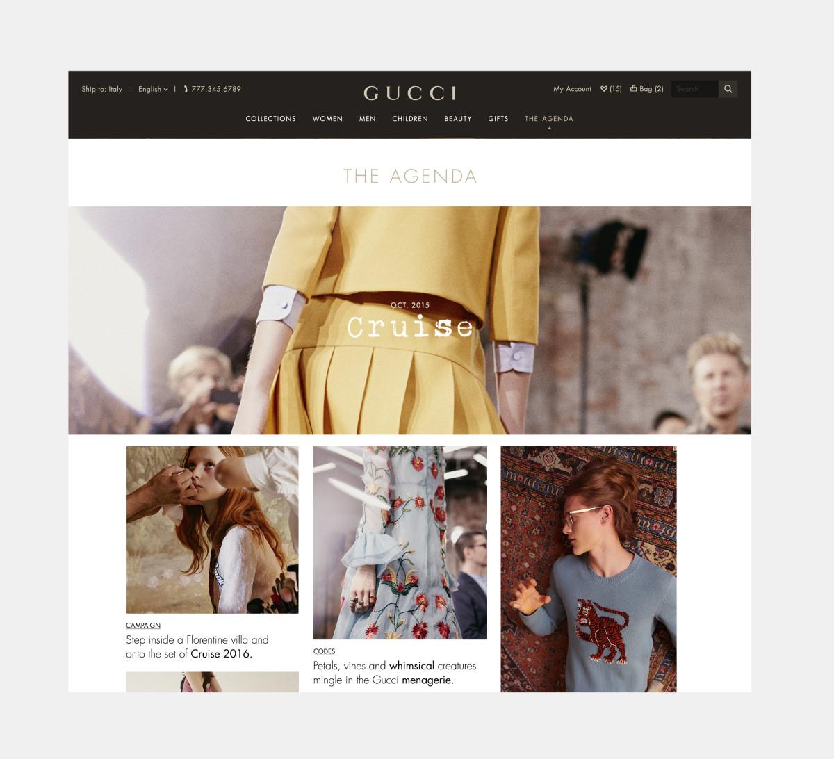 The Agenda at Gucci.com. Screengrab: Gucci