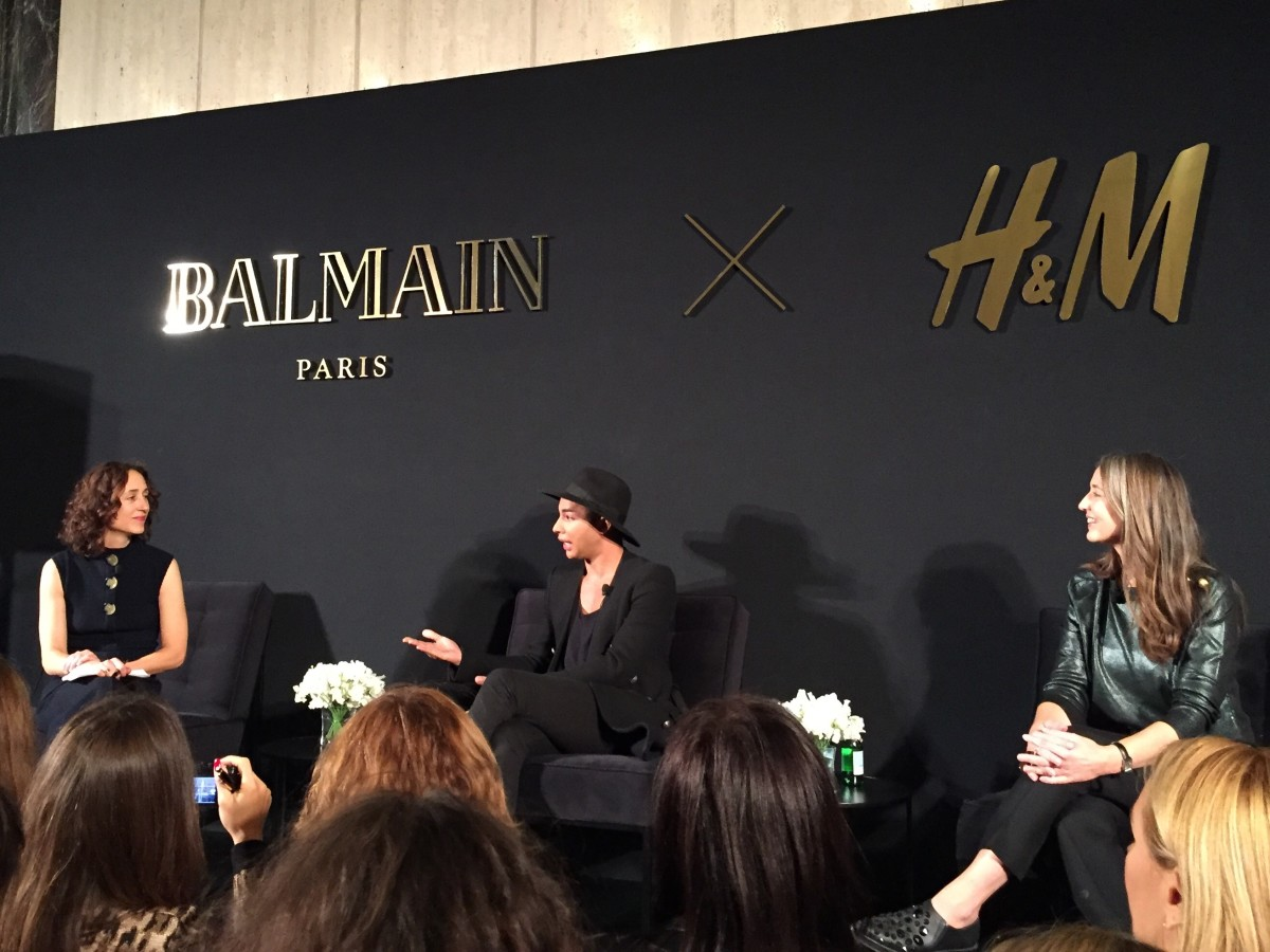Nicole Phelps, Olivier Rousteing and Ann-Sofie Johansson at the Balmain x H&M press conference on Tuesday in New York. Photo: Chantal Fernandez/Fashionista