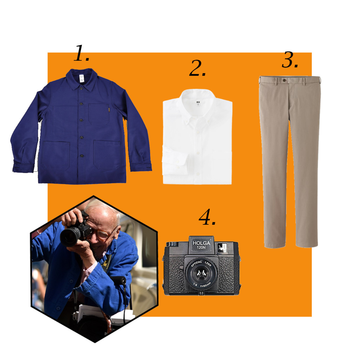 1. Le Labourer French work jacket, $150, available at Hickoree's; 2. Men's oxford shirt, $39.90, available at Uniqlo; 3. Uniqlo slim fit chino flat front pants, $29.90, available at Uniqlo; 4. Holga 120n medium format film camera, $34.99, available at B&H Photo. Photo: Mike Coppola/Getty Images