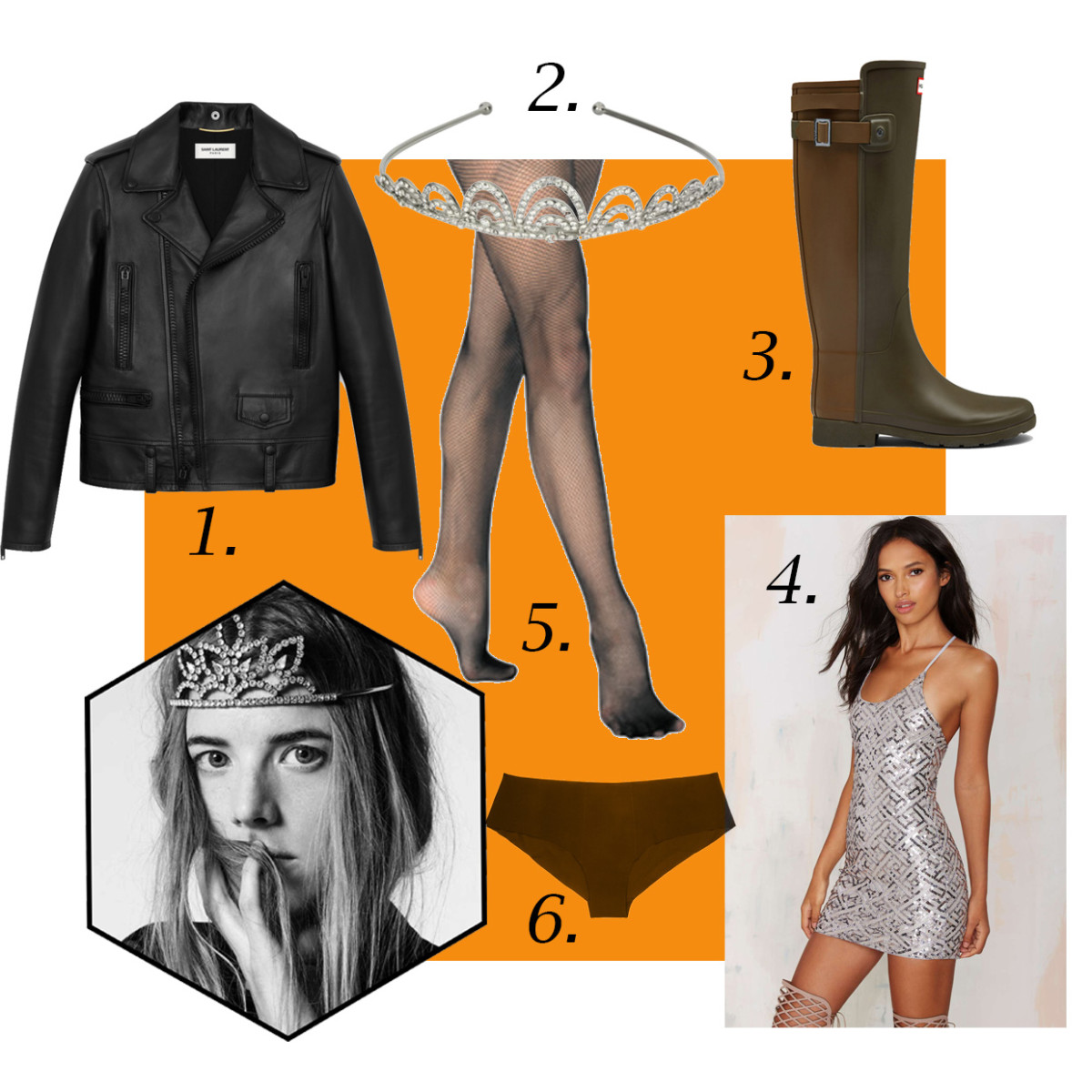 1. Saint Laurent Classic Motorcycle Jacket, $4,990, available at Saint Laurent; 2. Crystal Arches Tiara, $28, available at Target; 3. Hunter Original Refined Back Strap Rain Boots, $195, available at Hunter; 4. WYLDR Pixie Sequin Dress, $78, available at Nasty Gal; 5. La Perla Up Date Stretch-Jersey Briefs, $58, available at Net-a-Porter; 6. Discount Dance Supply Adult Fishnet Tights, $6.75, available at Discount Dance Supply. Photo: Agyness Deyn for Saint Laurent/Hedi Slimane