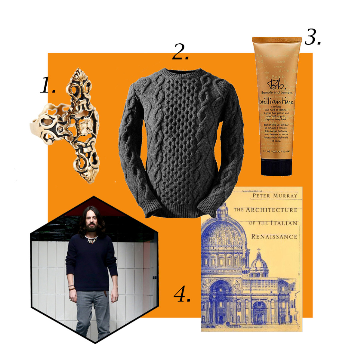 "1. Souvenir Jewelry Obelisk ring, $40, available at Urban Outfitters; 2. Aran Cabled Sweater Fisherman sweater, $195.95, available at Aran Cabled Sweater; 3. Bumble and bumble brilliantine, $24, available at Sephora; 4. ""Architecture of the Italian Renaissance,"" $8.95, available at Amazon. Photo: Vittorio Zunino Celotto/Getty Images"