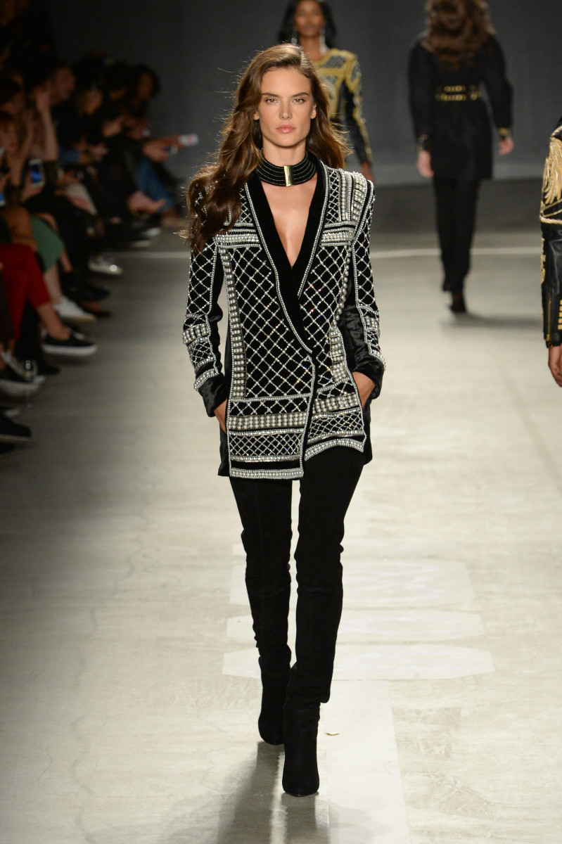 Alessandra Ambrosio walks the runway at the Balmain x H&M show on Tuesday night. Photo: H&M