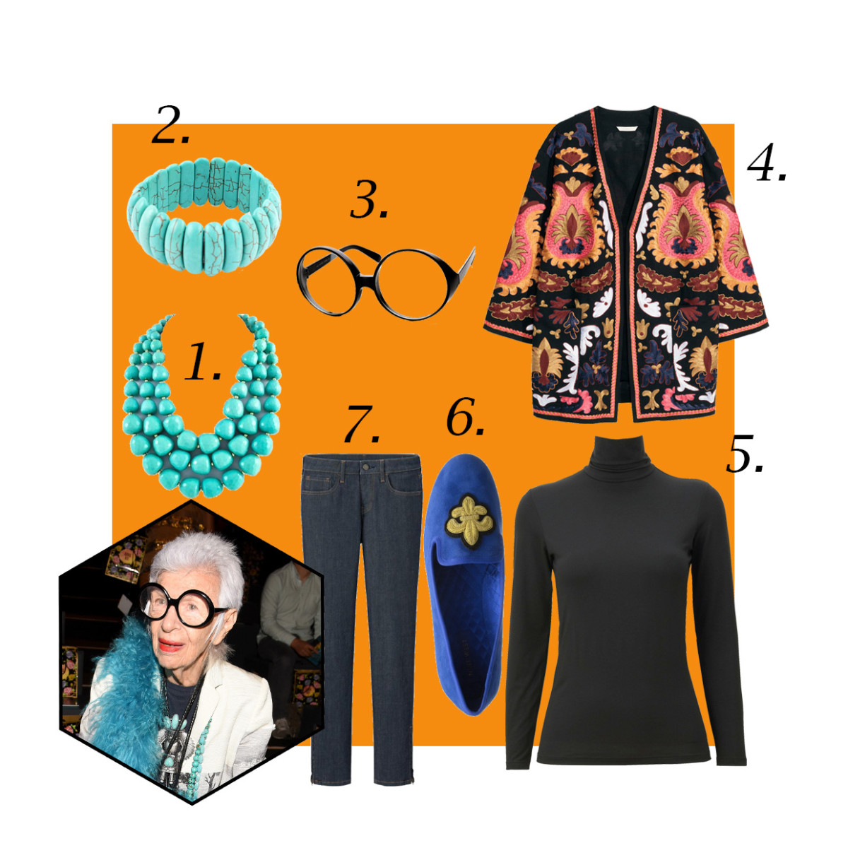 1. Chunky turquoise statement necklace, $25, available at Ebay; 2. Turquoise elastic bangles, $4.77, available at Ebay; 3. ZeroUV super large oversized glasses, $9.99, available at Rakuten; 4. H&M embroidered kimono, $129, available at H&M; 5. Uniqlo heattech turtleneck, $19.90, available at Uniqlo; 6. Nine West leyna loafer, $26.70, available at Amazon; 7. Uniqlo ankle-length jeans, $49.90, available at Uniqlo. Photo: Vivien Killilea/Getty Images