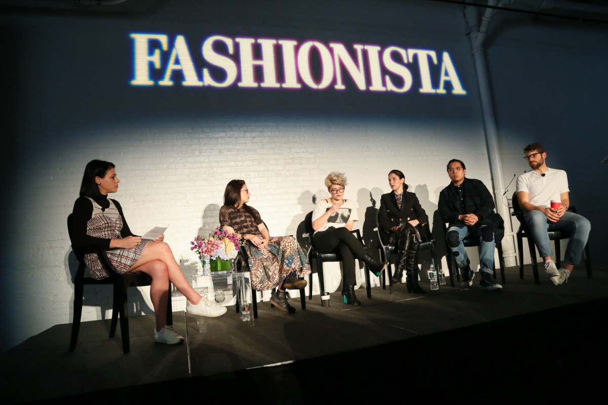 "Fashionista's Chantal Fernandez moderates a panel of five online editors at our 2015 ""How to Make It in Fashion"" conference in New York City. Photo: Fashionista"
