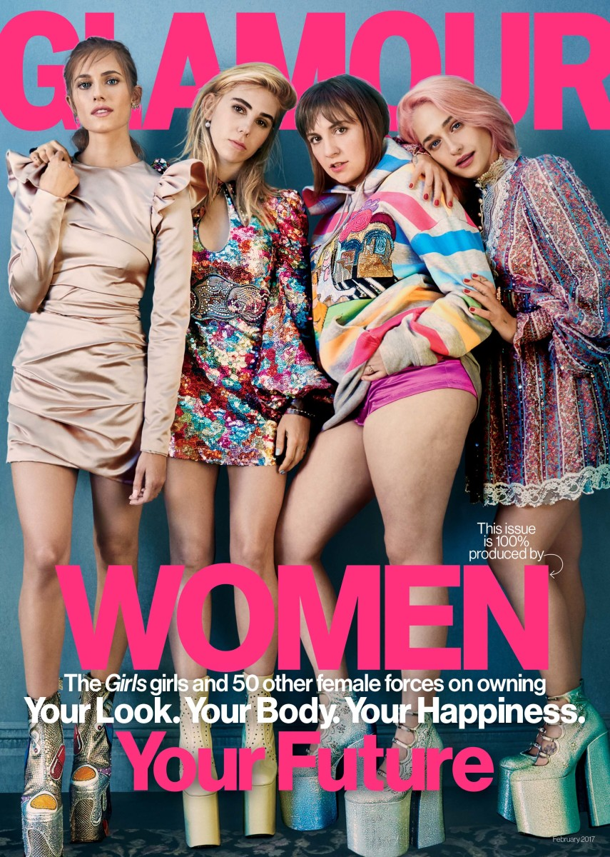 "The cast of ""Girls"" on ""Glamour,"" Febuary 2017. Photo: Emma Summerton/""Glamour"""