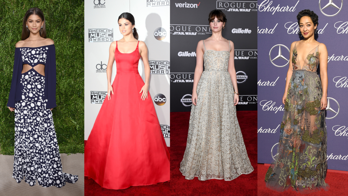 From left to right: Zendaya (Photo: Dimitrios Kambouris/Getty Images), Selena Gomez (Photo: Frederick M. Brown/Getty Images), Felicity Jones (Photo: Ethan Miller/Getty Images), Ruth Negga (Photo: Frazer Harrison/Getty Images)