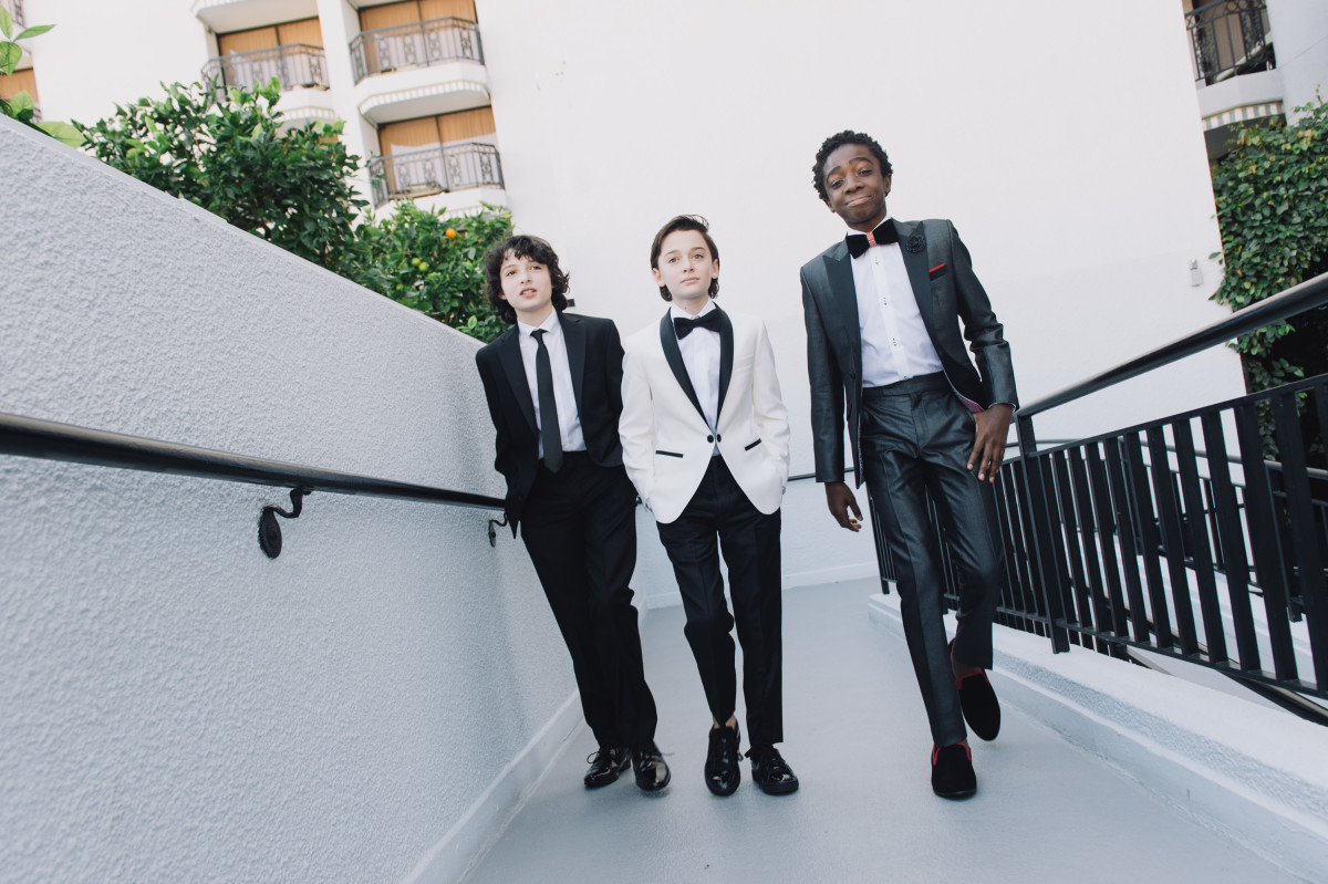 Finn Wolfhard, Noah Schnapp and Caleb McLaughlin. OMG. Photo: Emma McIntyre/Getty Images
