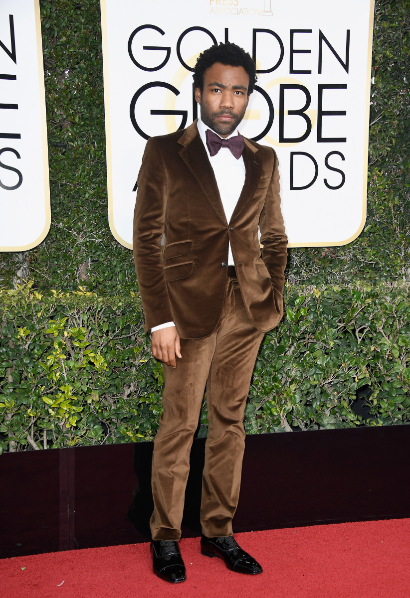 Donald Glover in Gucci at the 2017 Golden Globes. Photo: Frazer Harrison/Getty Images