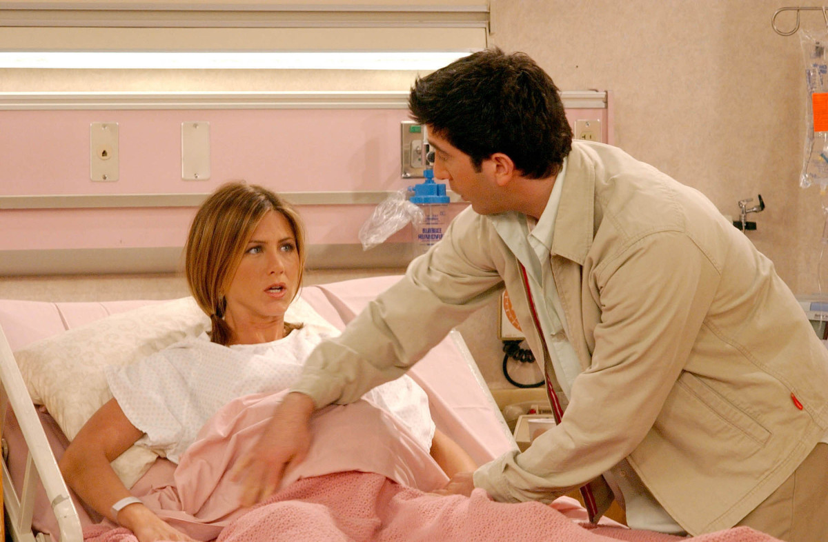 Rachel Green in labor — and pigtails. Photo: Getty Images Entertainment