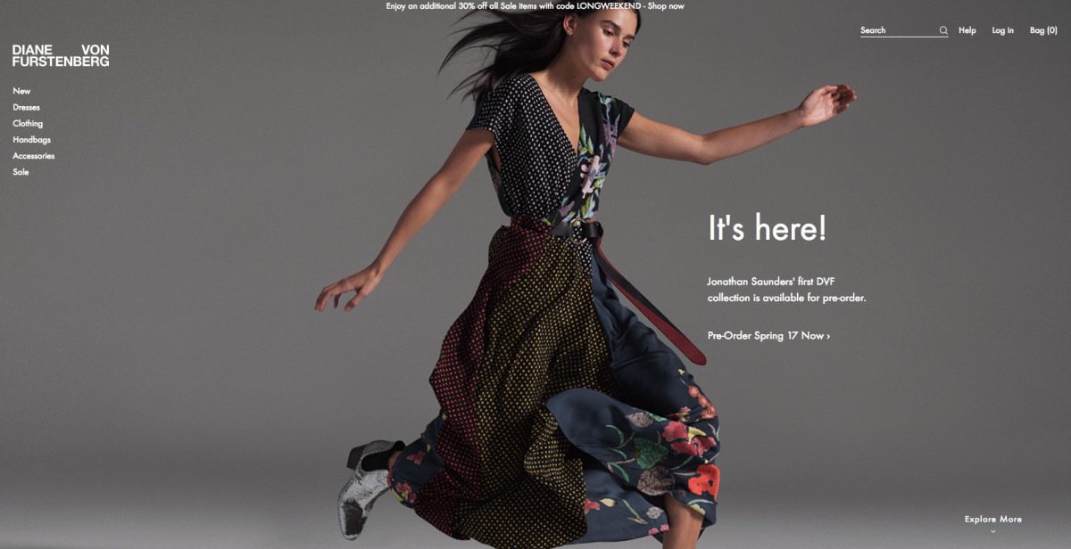 The newly-relaunched DVF.com.
