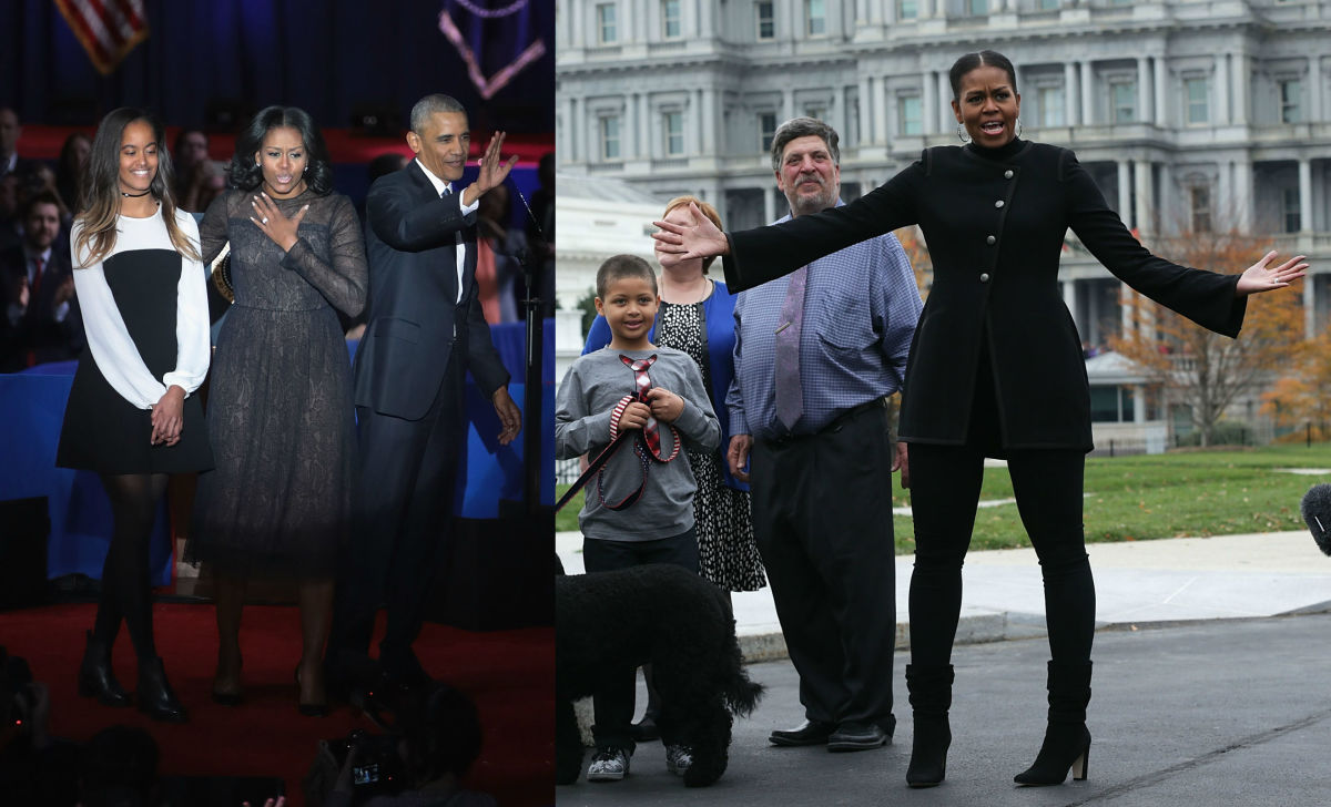 Malia and Michelle Obama in Cinq a Sept. Photos: Alex Wong & Scott Olsen/Getty Images