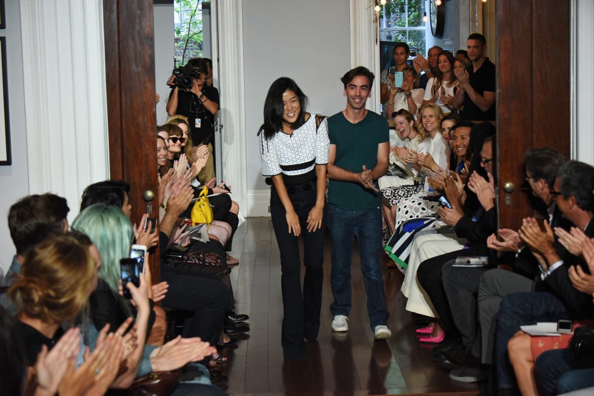 Designers Laura Kim and Fernando Garcia at Monse's spring 2016 show during New York Fashion Week. Photo: Albert Urso/Getty Images