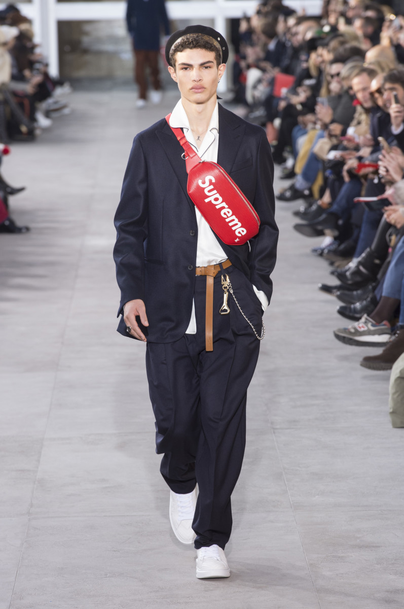 Louis Vuitton x Supreme from Louis Vuitton s fall 2017 men s runway show. b247769a3b4d4