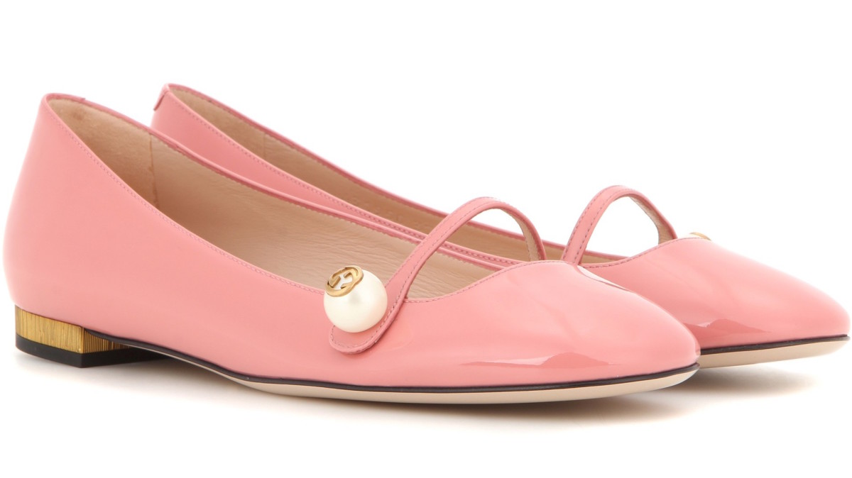 Gucci patent leather ballerinas, $650, available at MyTheresa.com.