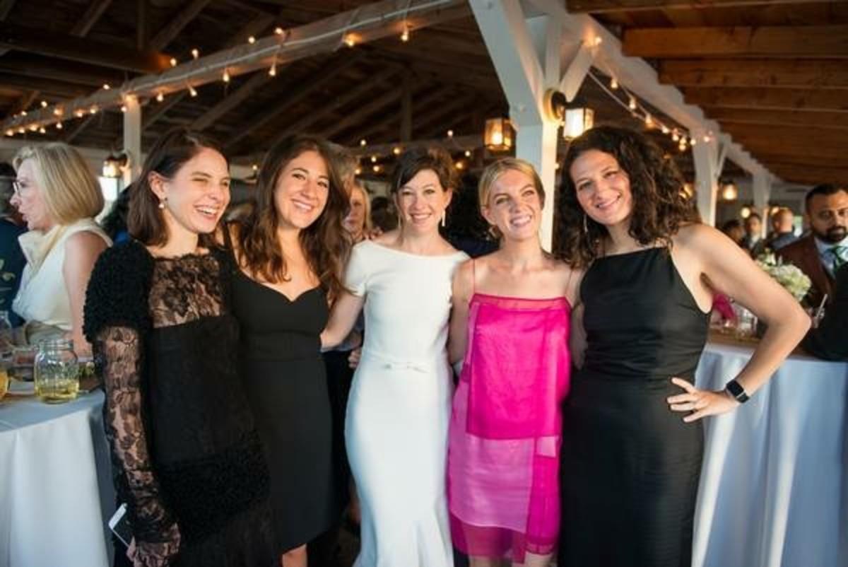 Ruthie Friedlander, Britt Aboutaleb, Leah Chernikoff, Hayley Phelan and Lauren Sherman at Chernikoff's wedding. Photo: courtesy of Leah Chernikoff