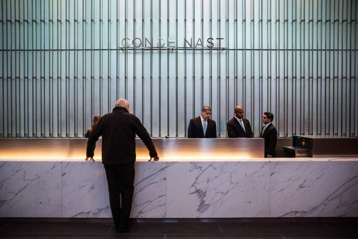 The Condé Nast desk at One World Trade Center. Photo: Andrew Burton/Getty Images