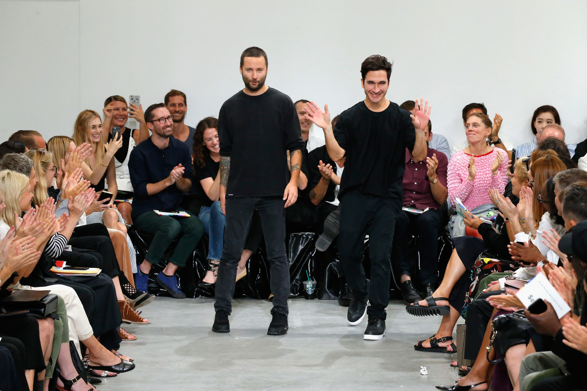 Lazaro Hernandez and Jack McCollough on the spring 2017 Proenza Schouler runway. Photo: JP Yim/Getty Images