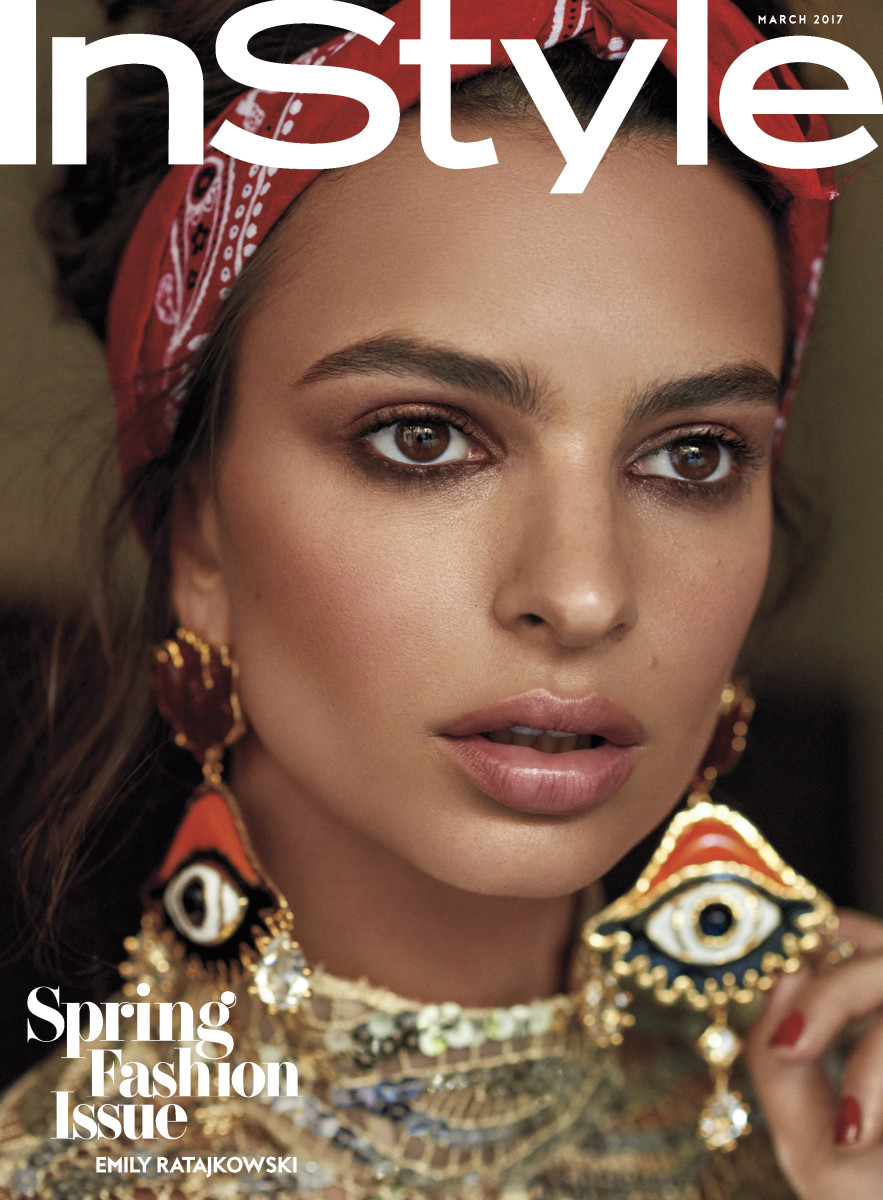 Emily Ratajkowski in a Marc Jacobs minidress and DSquared2 earrings on the March subscriber cover of 'InStyle.' Photo: Carter Smith/InStyle