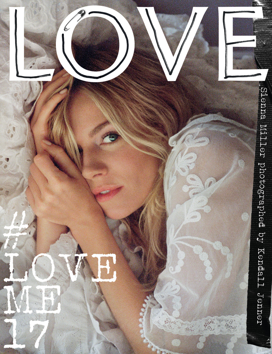 Sienna  Miller wears a dress from Burberry's February 2017 collection on the cover of Love Magazine. Photo: Kendall Jenner for Love Magazine