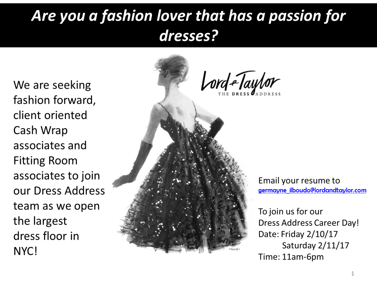 dress address lord taylor is hiring fitting room and cash wrap