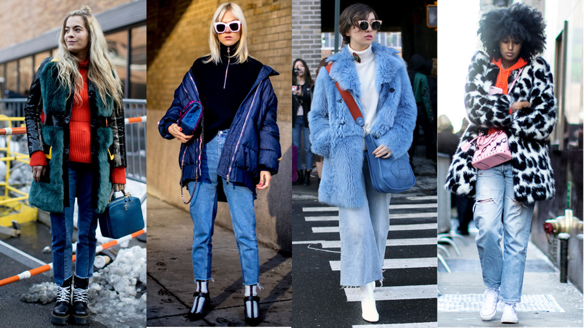 Blue jean babies. Photos from left to right: Imaxtree (2), Angela Datre/Fashionista, Imaxtree