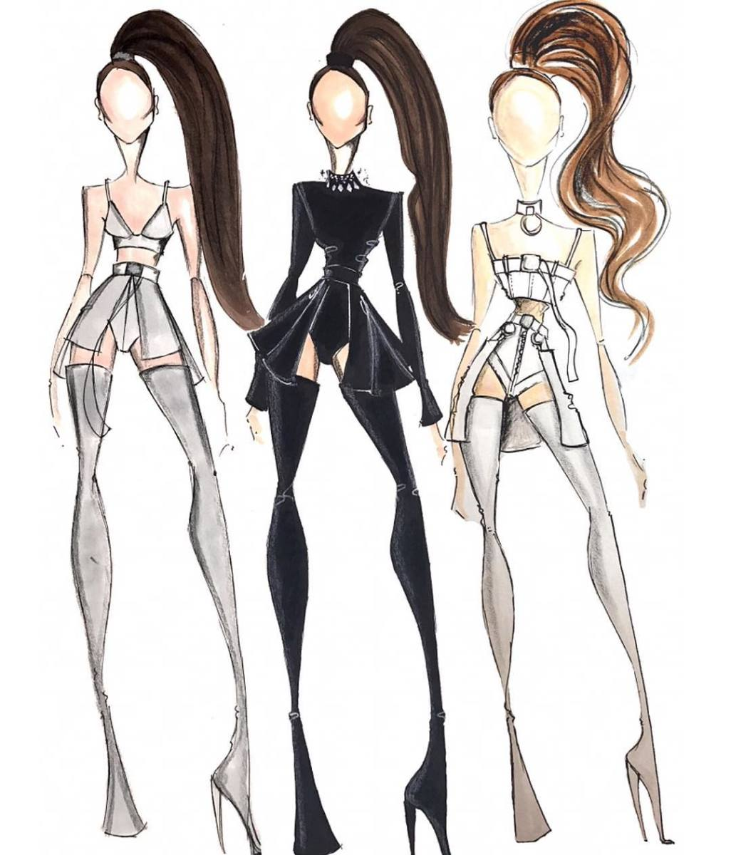 Sketches of the three looks designed by Hearns. Photo: @bryanhearns/Instagram