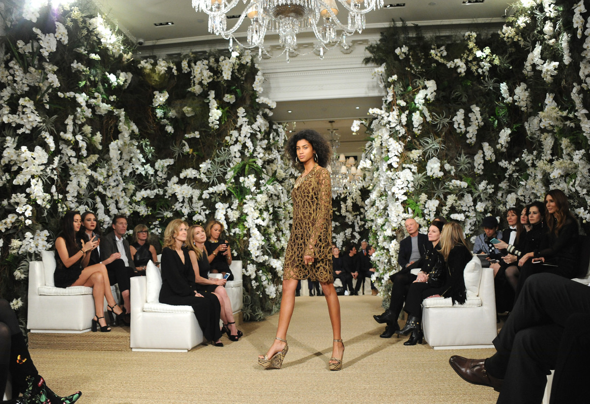 "Imaan Hammam at Ralph Lauren's Spring 2017 ""see now, buy now"" runway show. Photo: Desiree Navarro/WireImage"