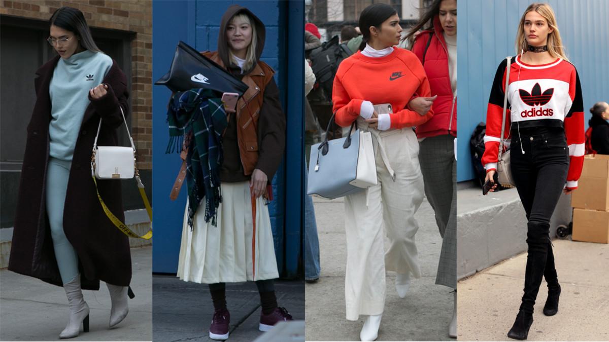 Adidas vs. Nike. Photos from left to right: Emily Malan/Fashionista (3), Angela Datre/Fashionista