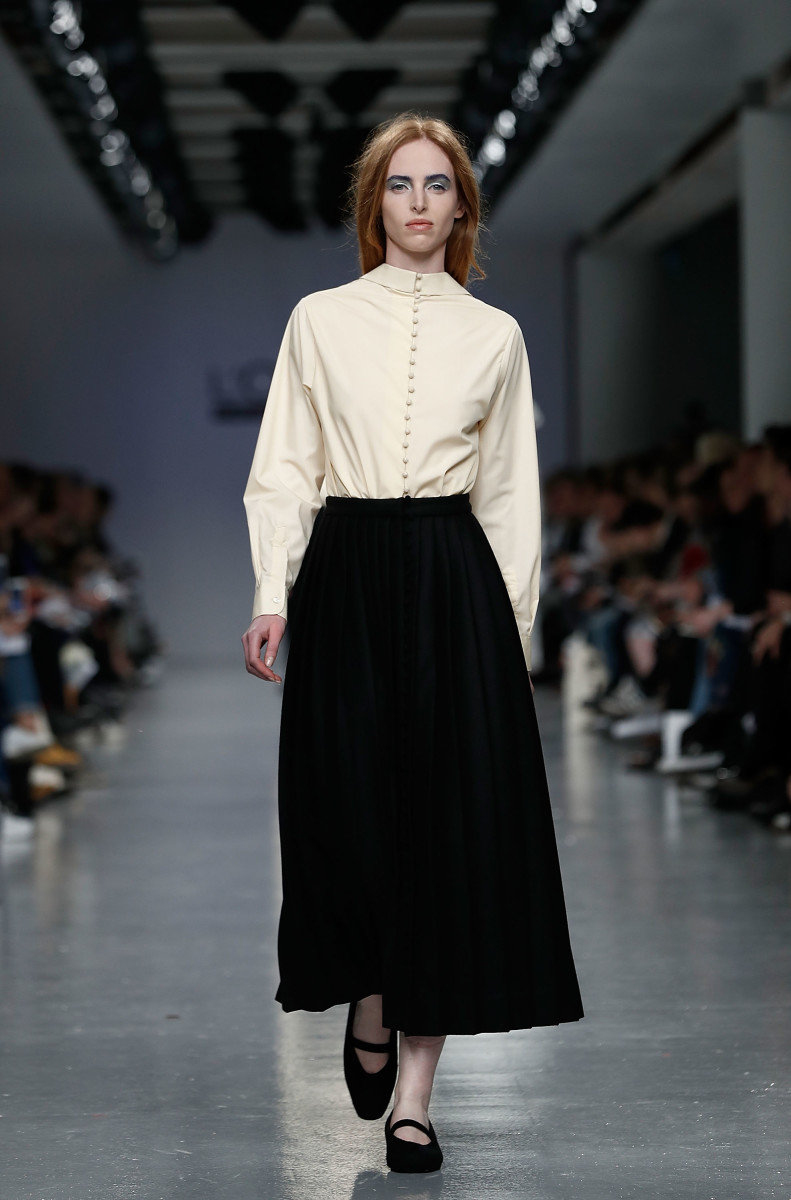 A look from Gabriele Skucas at Central Saint Martins MA show. Photo: John Phillips/Getty Images