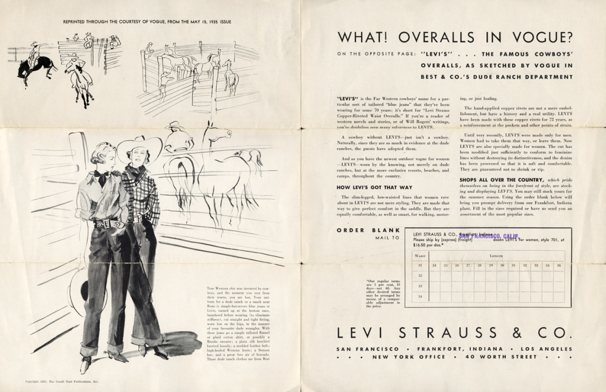 Advertising feature from the May 15, 1935 issue of Vogue,courtesy of Levi's®