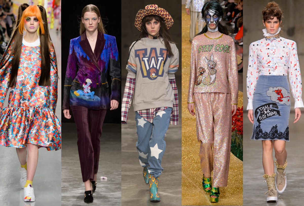 (L-R): Ryan Lo, Mary Katrantzou, House of Holland, Ashish, and Fashion East. Photos: Imaxtree