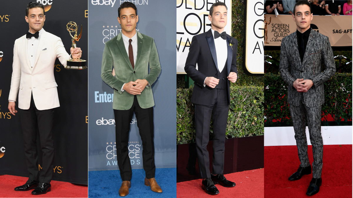 From left to right: Rami Malek atthe 2016 Golden Globes, 2016 Annual Critics' Choice Awards, 2017 Golden Globes and 2017 Screen Actors Guild Awards. Photos: Frazer Harrison/Getty Images