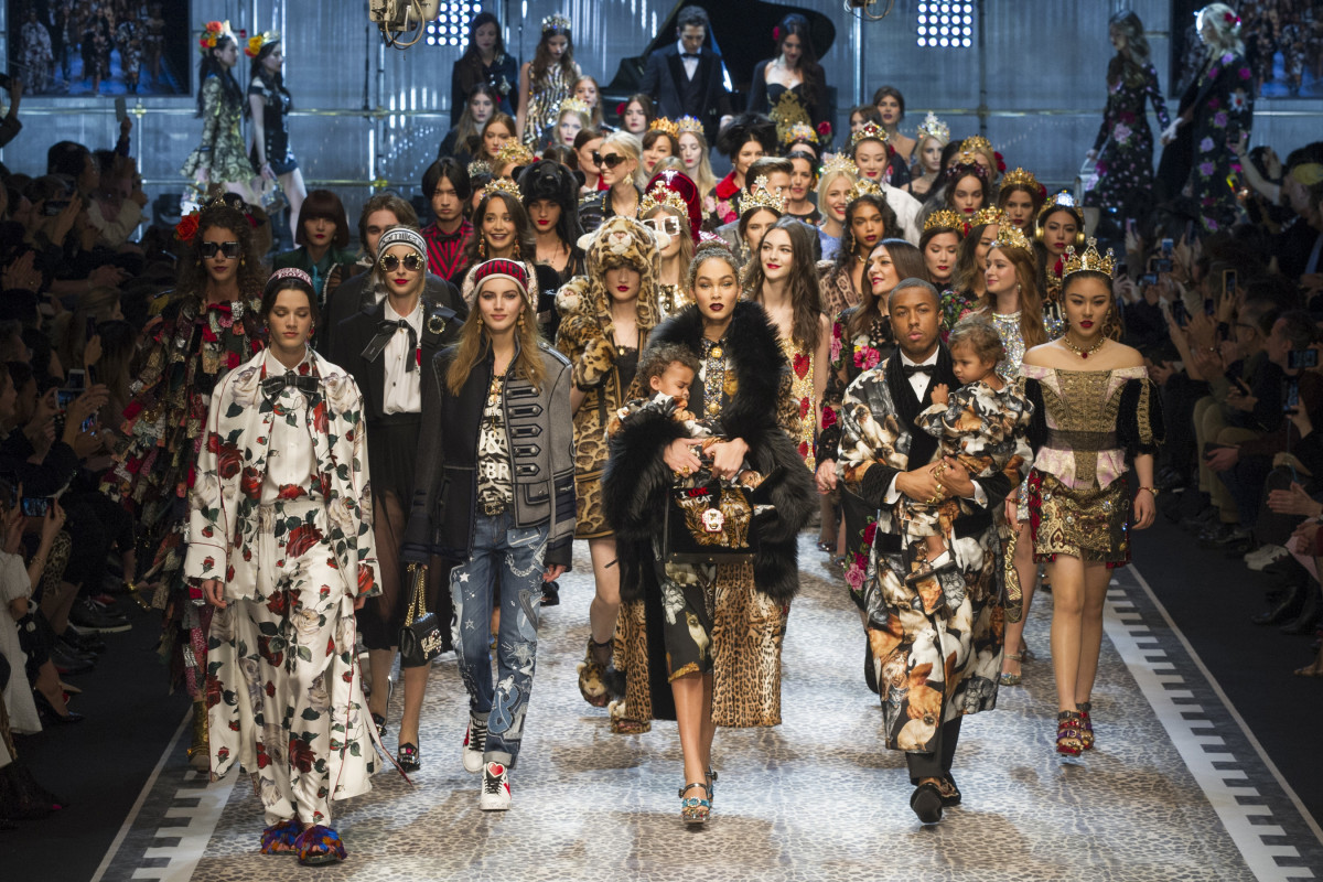 ae0dfcf592 The finale of the Dolce & Gabbana Fall 2017 runway show. Photo: Imaxtree