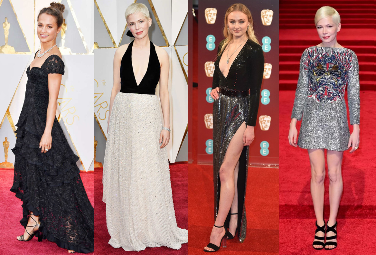 Alicia Vikander, Michelle Williams at the Oscars, Sophie Turner at the BAFTAs and Michelle Williams at the BAFTAs. Photos: Getty Images